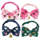 Wholesale Mixed Color Lovely Heart Printed Cat Bow Tie Neck Collar With Bell