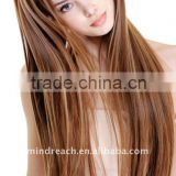 "Top quality 32"" 27#/4# P color silk straight Brazilian virgin human hair clip in hair extension"