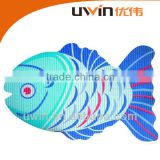Fish animal shape printed pvc foam fabric anti-slip blue bath mat