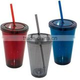 42505 Plastic Mug with Straw 450ml ( promotional gift, corporate gift, premium gift, souvenir )