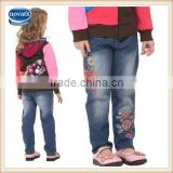 (G3901) blue 2-6Y baby clothing wholesale china kid denim jean exquisite flower embroidered pants