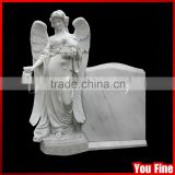 Flower Carved Angel Granite European Style Tombstone