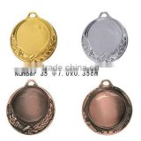 Metal Sporting Blank Medal With Laurel Wreath & Flaming Bowl Design-2sided-Diameter 7 cm