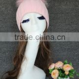 UK Wholesale Latest Style baby pink Wool Crochet Hat With Raccoon Fur Pom Poms White Crochet Knit Hat