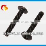 trust head cross slot with plating black zinc machine screw