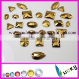 Hot sell golden / jet hemaitate color sew on crystals with holes flat back rhinestone mixed size and shape