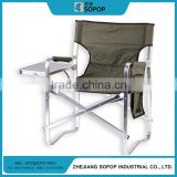 High quality cheap custom Olive green fabric aluminum director chair side table and magzine holder