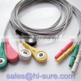 5 lead ECG cable with ecg snap connector for ECG equipment,ECG conductive electrode cable