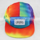Custom High quality flat brim camp cap sewing woven label logo 5 panel camper cap with digital printing