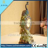 Environmental protection peacock clock resins decoration handicraft antique wooden desk clock