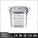 stackable stainless steel Square bain marie pot with lid with double ears soup pot