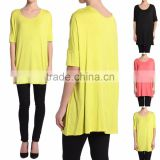 Fashion Woman Oversized Jersey Tee Short Sleeve Draped Solid Jersey Tunic Top Loose Fit Tee T-shirt Women Top Tee