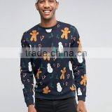 Hot Sale Custom Crew Neck Without Hood Black Men's 100% Cotton Casual Oversized Pullover Snow Printed Design Sweatshirt