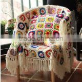2017 latest floral pattern mixed chic fringed fancy hand crochet blanket