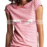 GIRLS STRIPED CREW NECK T SHIRT