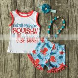 baby Girls Summer clothes girls cutest sea outfits baby children girls octopus be mine clothing with matching accessories