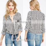 china wholesale fashion new style tie front custom long sleeve black and white striped shirt