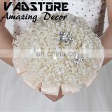 DIY pearl handmake wedding bridal bouquet. white pearl beads bridal bouquet hand wedding bouquet.