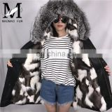 Fashion High Quality Cold Winter Outwear Beautiful Parka Natural Real Fur American Parka