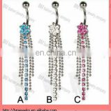 Belly button ring with flower and five long dangles body piercing jewelry in stainless steel navel ring