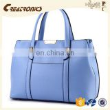 CR Sample available fashion pu leather material large-capacity portable long handle zipper blue colors high quality shoulder bag