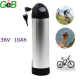 36V 10Ah Lithium ion Bottle e-Bike Battery with a Tough Aluminium Shell Body