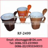 Hot Sale China Made Promotional Color Ceramic Soup Mug with Spoon for Kids