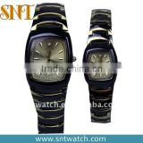 High quality alloy couple watch, black and gold color