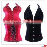 wholesale Junhou brand Gothic Overbust Corset Top for Waist Training Bustier with Strap Party Corsets