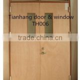Double leaf wooden fireproof/fire rated door with windows