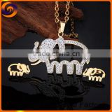 Stainless steel elephant platinum jewelry set