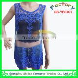 Top quality fashion blue organza mesh water soluble cord voile rope embroidery laces blouse