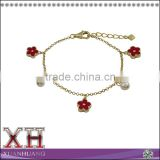 Gold Finish Sterling Silver Freshwater Pearl Red Enamel Flower Bracelet