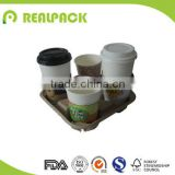 Eco-friendly take out coffee cup holder tray paper cup carrier