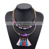Bohemian Style Multi-Layer Alloy Collar Necklace Fashion Handmade Beaded Tassel Necklace N5560