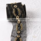 100% Handmade Garment accessories black and gold color wholesale beaded lace trim