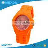 Unisex custom logo japanese movt cheap silicone rubber strap watch