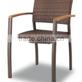 outdoor furniture in nature brown flat wicker with teak wood armrest for outdoor use and for hotel
