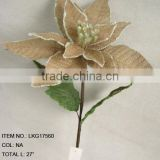 Christmas artificial burlap poinsettia flowers spray with leaf colorful decoration home decorations