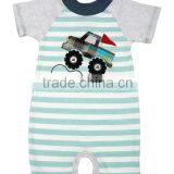 Online Sell Turquoise Stripe Truck Kid Romper Short Sleeve Baby Jumpsuits Infant Clothing RR80817-7