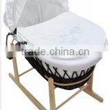 Baby Wicker Moses Basket With Mattress, Cover, Quilt, Hood, Dressing and Rocking Stand