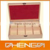 Hot!!! Customized China Manufacturer Pine Wood Natural 8 Compartment Tea Box For VIP Gift(ZDW13-024)