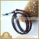 new fashion triple wrap leather fish hook bracelet with high quality
