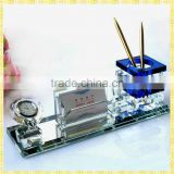 Personalized Diamond Crystal Pen Holder With Clock For Business Cooperation Souvenirs