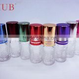 Mini 2ml 3ml Screw thread shaped empty clear glass tube roll on deodorant bottle for perfume with plastic roller ball