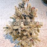 2016Hot sale potted christmas tree artificial pre lit potted artificial christmas tree