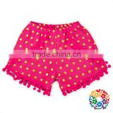 HOT PINK Baby Ruffle Pom Pom Shorts Kids Cotton High Waist Icing Shorts Cargo For 2 YEARS OLD Baby Girls Shorts