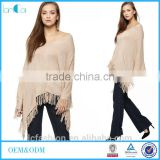 2016 Autumn women wear fringed tops knitted poncho with tassels OEM