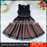 MGOO Elegant High Quality Black Little Girl Sequin Evening Dress Infant Party Dress Dot Tutu Gowns 5058