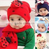 kids girls red hat&scarf two pcs cut design warming babies hat &scarf made by woollen yarn